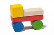 car from colorful wooden toy blocks