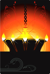 Hanging golden divine lamp