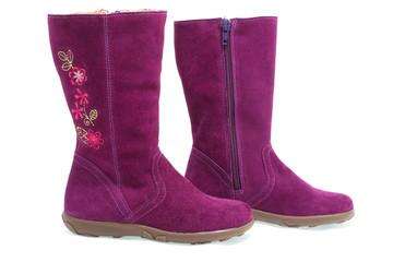 Purple female shammy boot isolated on white