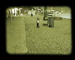 scene at the autumnal beach as old home movie
