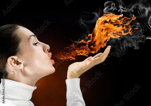 Leinwandbild Motiv fire woman