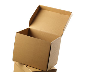 opened cardboard box, isolated