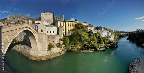 panorama of mostar city old town, bosnia herzegovina