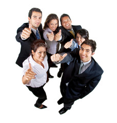 Businessgroup with thumbs up