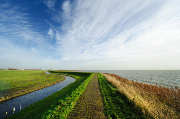 Typical Dutch country landscape in Marken