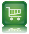""" Cart - Trolley "" Button (square - green - vector - reflection)"