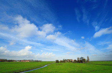 Typical Dutch country landscape in Marken