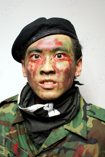 Fierce asian army commando aggressive portrait