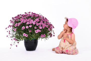 Cute baby staring at huge pot of flowers