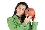 Businesswoman with a moneybox poster