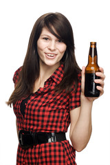 Young beautiful woman with beer bottle