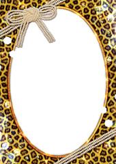 豹柄と真珠のリボンのフレーム