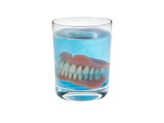 Gebiss Glas Reinigung blau