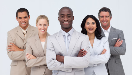 Smiling African businessman leading his team