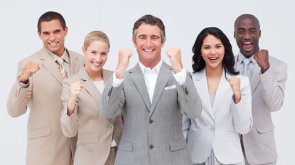Powerful business people standing and smiling
