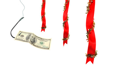 Christmas decoration with ribbons and money on  hook