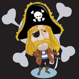 pirate captain with sabre poster