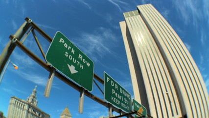 Freeway Sign, USA w/Fish-Eye