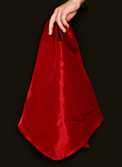 Holding red cloth
