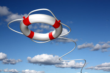 Lifebuoy ring flying in the sky