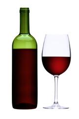 Rotweinglas und Rotweinflasche