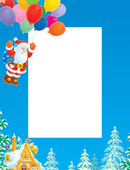 Christmas frame / border with Santa Claus