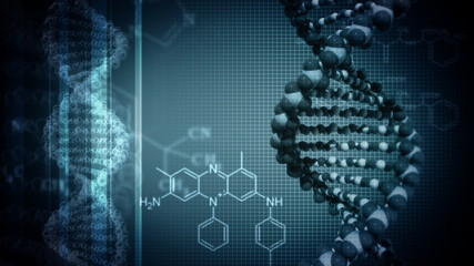Dark blue background with rotating DNA
