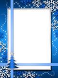 Fototapety Blue Christmas card with snow and a tree