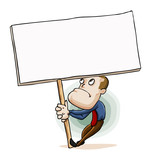 Man holding Message Sign Board