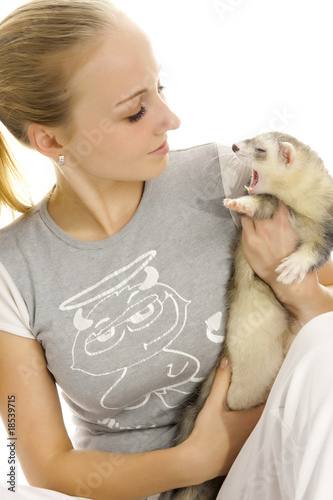 Lovely woman with young ferret.