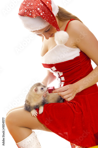 Cute Snow Maiden with little ferret.