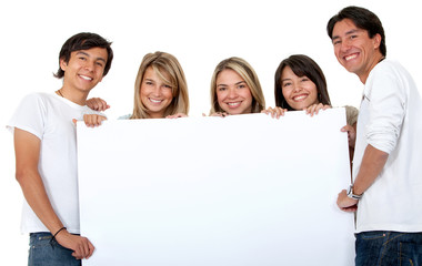 Group of people with a banner