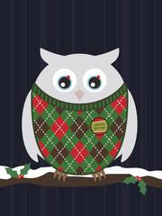 snowy christmas owl