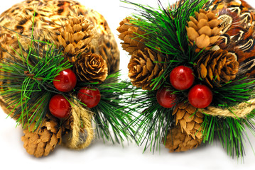 2 christmas-balls isolated on white background