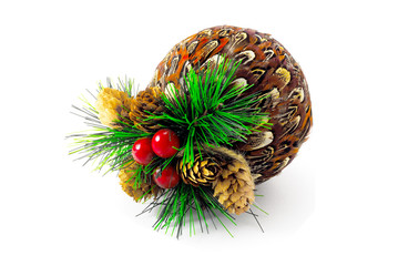 christmas-ball with cones anb cranberries on white background