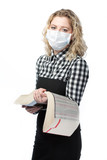 clever blonde in mask isolated on pure white background poster