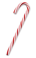Candy cane isolated on white with clipping paths.
