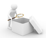 person with magnifier investigates empty box. Isolated 3D image poster