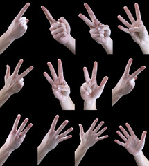 set of gestures, one, two, three, four, five,