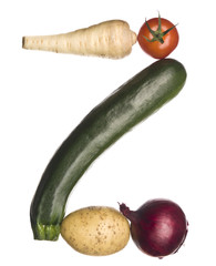 The letter 'Z' made out of vegetables