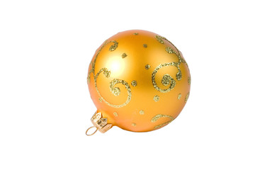 Bright yellow Christmas ball (isolated on white)