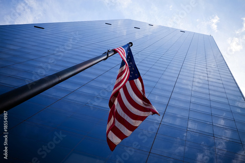 Skyscrapers with American flag