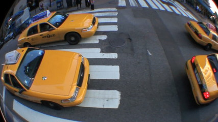Yellow Taxi Cabs with Fish-eye