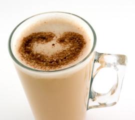 chocolate heart on coffee glass