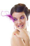 girl with purple brooch and makeup poster