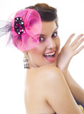 beautiful woman with pink brooch smiling poster