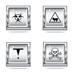 vector illustration of the icons set of the Hazard symbols