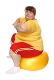 exercising overweight woman on ball poster