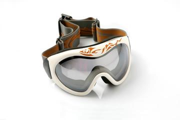 Ski glasses on white background