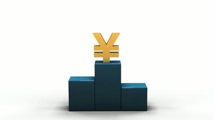 Yen symbol jumping on a podium